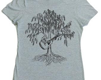 Womens TShirt - Regular Fit Tee - Acoustic Guitar Shirt - Guitarist T Shirt - Country Music - Bluegrass - Willow Tree - Guitar Player Tshirt