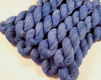 Sock Yarn Mini Skeins, Hand Dyed Yarn, Sock Weight 4 Ply Superwash Merino Wool Yarn, DELPHINIUM, Blue Fingering Yarn, Gift Idea for Crafter