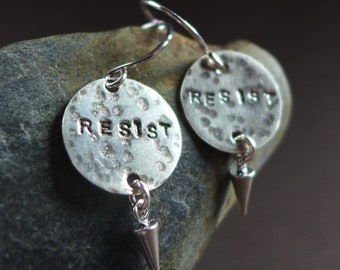 RESIST Earrings, Political Jewelry, Sterling Silver Stamped Word Anti-Trump Jewelry