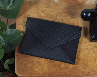 Clutch bag envelope black quilted vegan leather bag faux leather suede purse handbag strap pocket zipped wedding bridesmaid evening  gift