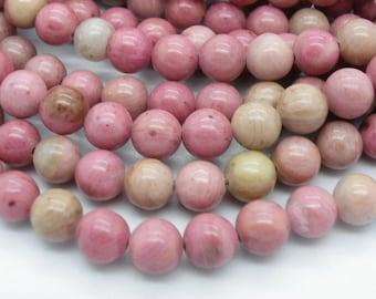 20 rhodonites 8 mm natural grade A a beautiful pink, beige