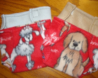 Set of 4 Baby Doll Diapers 15 inch doll puppy dogs red tan grey
