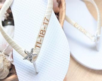 Bridal sandals FLIP FLOPS, Wedding shoes, White & Gold Bridal shoes, Wedding sandals, Bridal slippers, Honeymoon gift, Destination wedding