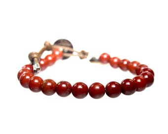 Bracelet Classic B8 – Redstone and Leather 607
