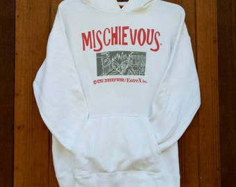 Rare!! MISCHIEVOUS hoodies nice design hip hop style designer spell out white colour large size