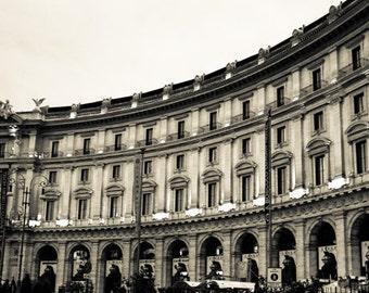 Rome Italy - Architecture - Black and White - Sepia - Fine Art Photograph - Piazza della Repubblica