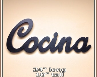 Cocina - Kitchen - Spanish  Wooden Sign, Handmade wood wall decor scroll saw sign - Frankos Word Shop -  Cocina Spanish Kitchen