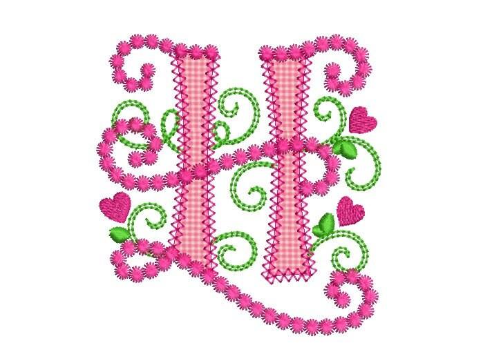 letter h applique machine embroidery design monogram initials
