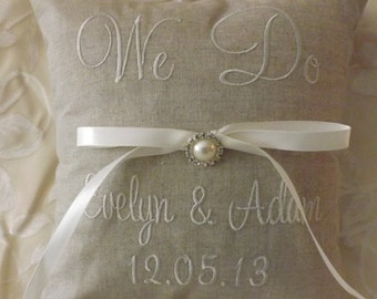 Personalized Embroidered Ring Bearer Pillow