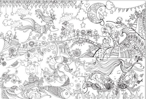 Giant coloring poster for adults and children Huge