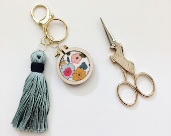 Embroidered Purse Charm - Embroidery Hoop Art - Tassel Keychain - Hand Embroidered