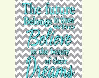 Belongs Believe Beauty Dream Inspirational Egg Blue Gray Chevron Decor Wall Art Print modern art decor Print 6-1