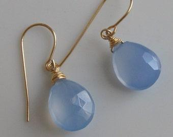 Light Lavender Chalcedony Gold Earrings