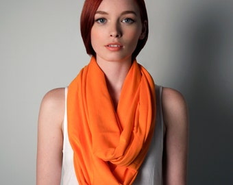 Orange Scarf, Infinity Scarf, Gift Ideas, Gifts for Her