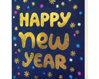 Shimmery New Year Gold Foil Cards, Box of 8 - Foil Stamped New Year Cards - Happy New Year - OC1189-BX
