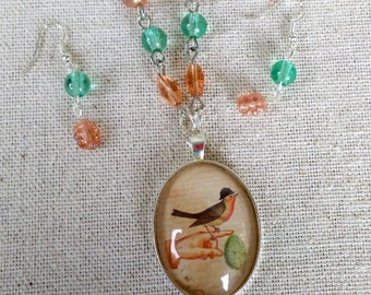 Cute and Funky Bird Pendant, Robin Necklace, Qwerky Funky Jewelry, Matching Earrings
