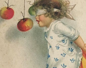 Vintage 1900's Unused Halloween Postcard- Child Bobbing for Apples