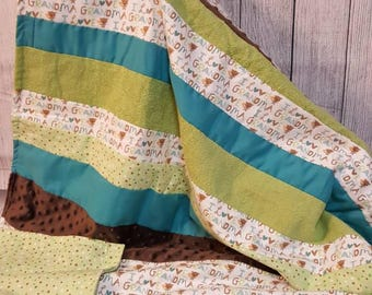 I love Grandma/I love Grandpa/Flannel/Minky/blanket/throw/Personalized