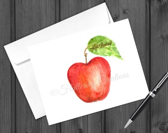 Personalized Apple Note Cards. Folded Personalized Note Card. Stationery. Apple Note Card Set for Teacher.