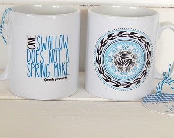 Ceramic Mug Concentric Swallows - One Swallow Does Not A Spring Make - Greek Quote