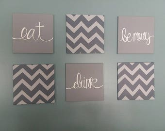 Eat, Drink, Be Merry set of 6 canvases