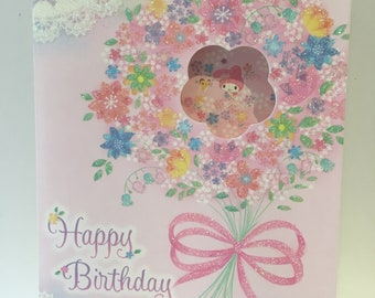 My Melody sparkling birthday card with pink envelope
