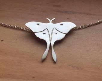 READY TO SHIP Sterling Silver Luna Moth Necklace