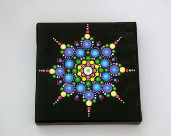 SHIPS FREE-Mini Mandala 4x4 canvas star dot art-original wall art-pointillism-dotillism-aboriginal hippie boho yoga meditation neon glow Zen