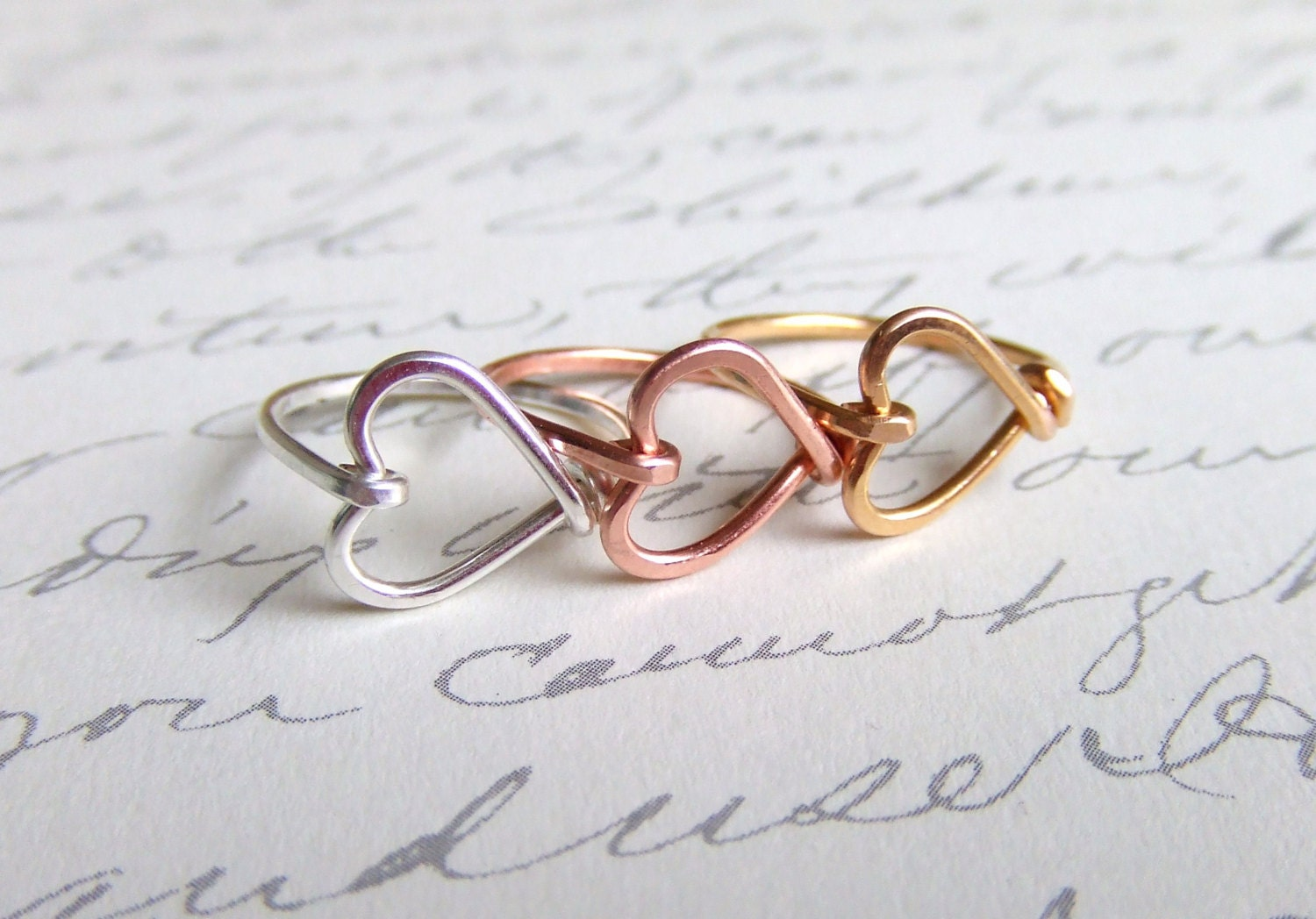 Heart Ring Handcrafted Wire Heart Sterling Silver 14K Gold