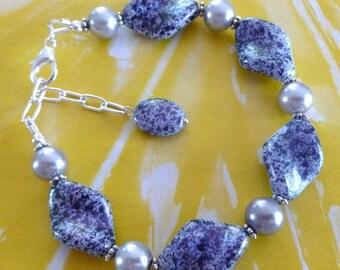SALE ~ Purple Majesty Bracelet - Purple Acrylic Beads Silvery Crystal Glass Pearls Free Shipping