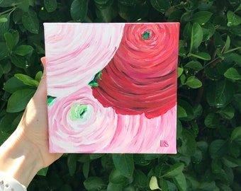 "Pink and Red Ranunculus, Original, 6"" x 6"" Acrylic Painting on Canvas"