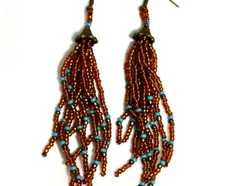 Tassel Earrings Brown Hippie Fringe Gypsy Bohemian Turquoise Long Dangle Festival Ethnic Beaded Beadwork Artisan Western Cowgirl Rodeo Hang