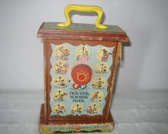 Vintage 1963 Fisher Price Musical Tick Tock Learning Clock