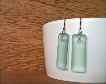 seafoam green rectangle sea glass earrings