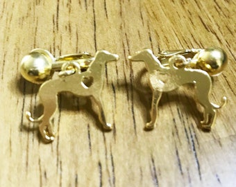Greyhound Dog Jewelry CLIP ON Earrings with Gold Plt Greyhound or Whippet Heart Hound Charms