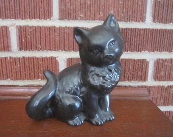 Vintage Sweet Black Pottery Longhair Cat Figural Planter