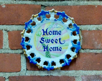 Home Sweet Home collectible plate vintage wall hanger colorful home decor