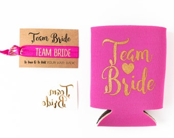 Hot Pink + Gold Team Bride Bachelorette Gift Set | Metallic Gold Tattoo, Hair Tie + Drink Cooler | Bachelorette Party Favor