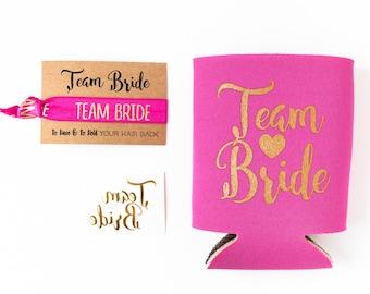 Hot Pink + Gold Team Bride Bachelorette Gift Set | Metallic Gold Tattoo, Hair Tie + Drink Cooler | Bachelorette Party Favor