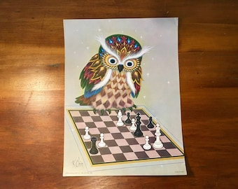 Vintage 1970s 1973 Chess Owl Lithograph Print K Chin