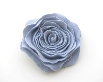 Rose Pin Cashmere Felted Wool Rose Brooch Pale Chambray Ice Blue Recycled Wool Flower Pin