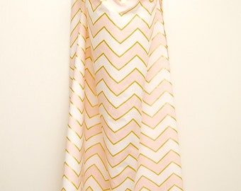 Gold and Pink Chevron Nursing Cover