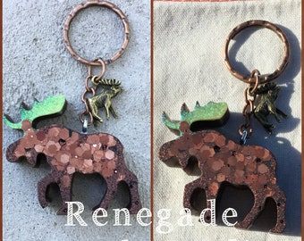 Moose glitter keychain handmade Alaska Colorado Maine mountains