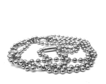 With 80cm size 2.4 mm ball clasp stainless steel necklace