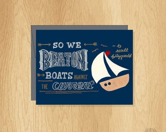 So We Beat On Hand Lettered Card, Fitzgerald Quote Card, Inspirational Card, Motivational Card
