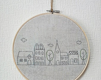 Hand embroidery in hoop Embroidery Wall Art House