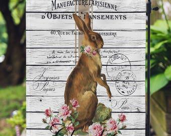 Farmhouse Garden Flag - Spring Decor - 12 x 18 Flag - Outdoor Farmhouse Decor - Garden Decor - Easter Bunny