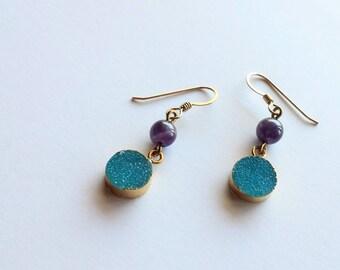 Blueberry Druzy and Amethyst Earrings