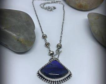 Blue Flash Labradorite Front Closure Sterling Silver Necklace