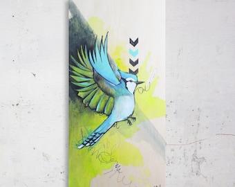 Blue jay. Bird. Quebec. Blue, turquoise, green, black and white. Chevron pattern. Acrylic on wood.